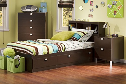 Buy Discount South Shore Cakao Kids 3-Piece Bedroom Set with Bookcase Headboard, Twin, Chocolate