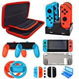 Accessories Kit for Nintendo Switch, Starter Kit for Nintendo Switch Game Console Wheel Grip Caps Carrying Case Screen Protector Controller (17 In 1)