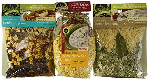 Frontier Soups 100% Natural Homemade In Minutes Gluten-Free Soup Mix 3 Flavor Variety Bundle: (1) South Of The Border Tortilla Soup Mix, (1) Illinois Prairie Corn Corn Chowder Mix, and (1) Idaho Outpost Potato Leek Soup Mix, 3.25-7 Oz. Ea. (Corn Tortillas Mix compare prices)