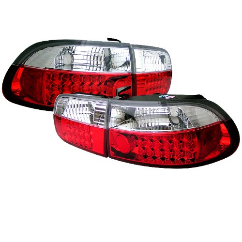 Spyder Honda Civic 92-95 2/4Dr Led Tail Lights - Red Clear