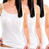 HERMKO 1560 3er Pack Damen Träger Top aus 100 % EU-Baumwolle, Farbe:weiß, Größe:44/46 (L)