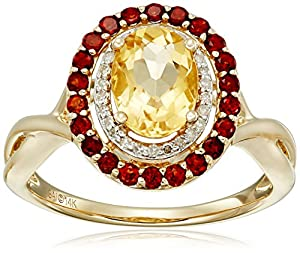 14k Yellow Gold Citrine, Garnet and Diamond (1/10cttw, H-I Color, I2-I3 Clarity) Ring, Size 7 by The Aaron Group - HK DI