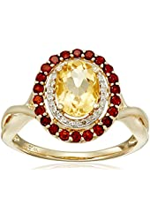 14k Yellow Gold Citrine, Garnet and Diamond (1/10cttw, H-I Color, I2-I3 Clarity) Ring, Size 7