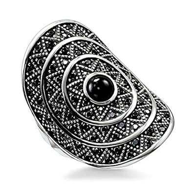 Thomas Sabo Glam & Soul Women's Ring 925 Silver With Black Onyx - Size - TR2053 Pump 11/54/
