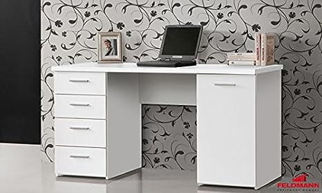 Schreibtisch PC Tisch 62035 weiss matt melamin
