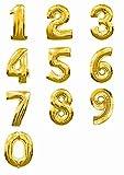 バルーンで装飾・演出 数字 40cm アルミ バルーン 結婚 誕生日 開店のお祝い装飾に (ゴールド : 5)
