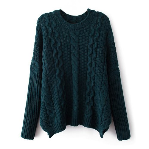 Zlyc Women'S Classic Cable Knit Batwing Sleeves Pullover Sweater (Dark Green) front-969708