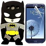 3D Batman Silikon Handyschutzhülle+Displayschutzfolie für Samsung Galaxy S3 i9300 Schwarz