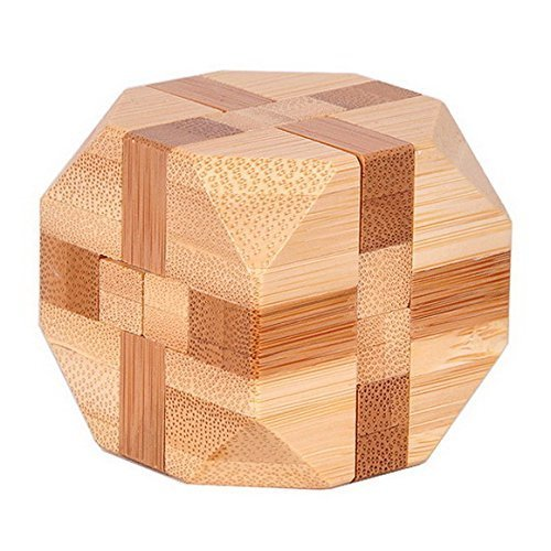 KINGOU Bamboo Tetrakaidecahedron Lock Logic Puzzle Burr Puzzles Brain Teaser Intellectual Removing Assembling Toy