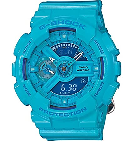 Casio G-Shock Blue Dial Blue Resin Multi Quartz Ladies Watch GMAS110CC-2A