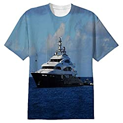 Snoogg White Boat In Blue Water Mens Casual All Over Printed T Shirts Tees