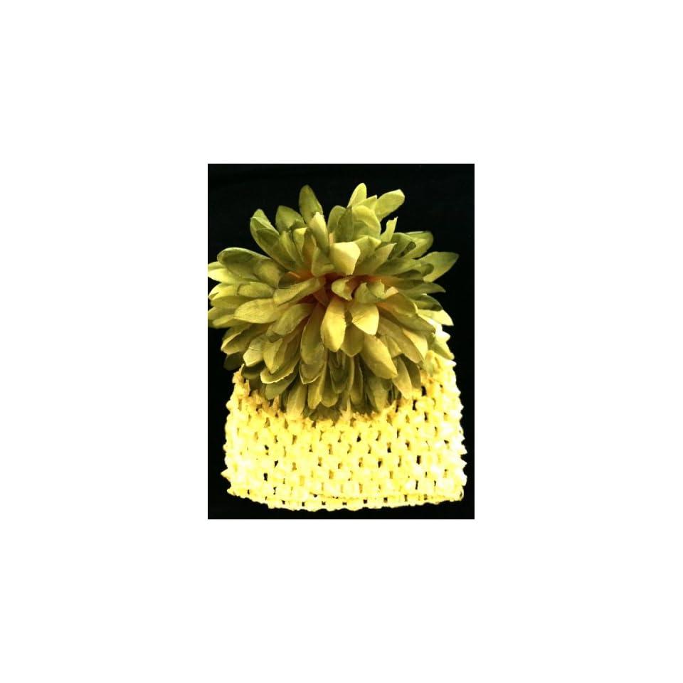 Tanday Green Crochet Elastic Baby Girls & Toddler Flower r Beanie & Hat Mum