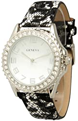 Women's Geneva Classic Lace Watch With Black Lace Band - White