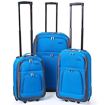 "5 Cities Lightweight Cabin Approved Hard Wearing and Light Weight Expandable Trolley Wheeled Luggage Bag (Royal Blue) (Set of 3 18""/21""/26"")"