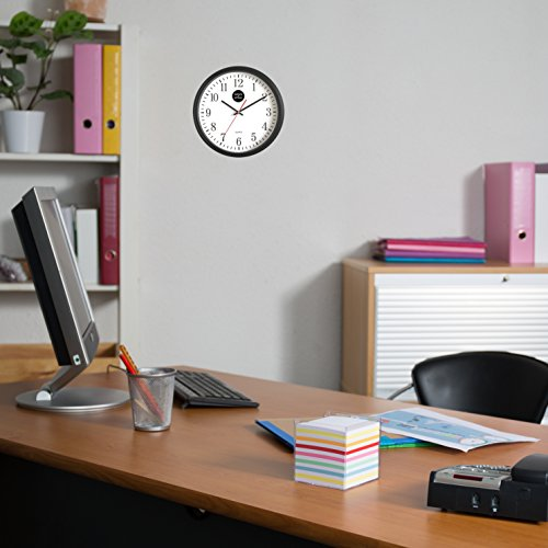 Analog Wall Clock with Anti-Scratch Plexi Glass Cover, Black with White Easy-to-Read Numbers, Silent Quartz - by Office Style 2