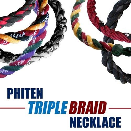 Phiten Triple Braid Necklaces - X30 Gray/Blk Diamond - Gray/Blk Diamond - Gray/Blk Diamond - About 18.5