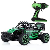Metakoo RC Car Off Road Vehicle High Speed 20km/h 1:18 Scale 65M Remote Control 20mins Playing Times 4WD Fast Race Truck 2.4GHz Electric Buggy Hobby Car - Green