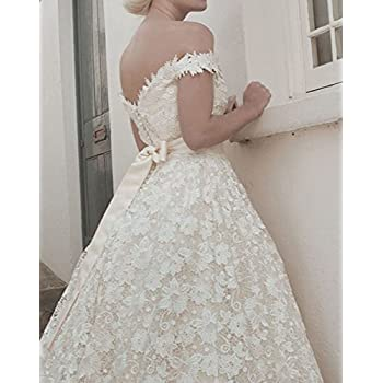 FNKS 1950s Vintage StyleTea Length Off Shoulder Straps Unique Wedding Dress Gowns