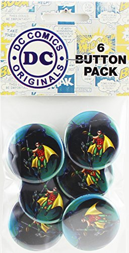 "Button set DC Comics Batman-Batman and Robin 6 Individual Loose Buttons, 1.25"" - 1"