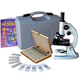 AmScope M60C-ABS-PS100-WM Beginner Microscope Kit, LED and Mirror Illumination, WF10x and WF20x Eyepieces, 40x-1000x Magnification, Includes Case, Set of 100 Prepared Slides, and Book