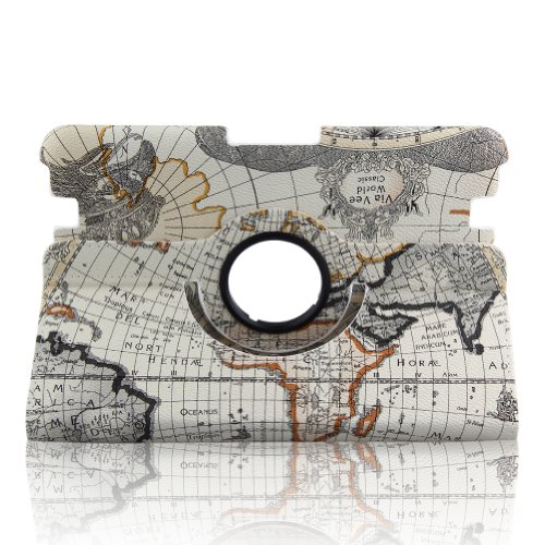 Generic 2014 New Style World Map Print Pu Leather 360 Degree Rotating Auto Sleep/Wake Function 8.9 Inch 2012 Kindle Fire Hd Smart Carrying Case With Multi-Angle Vertical And Horizontal Stand(With A Stylus As A Gift)--Beige