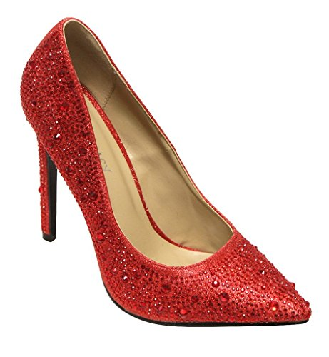 Delicacy Belinda-96 women's pointy toe glitter beads rhinestones slip on high heel pumps shoes Red 9