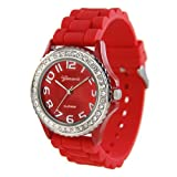 RED Silver Silicone Gel Band Crystal Bezel Womens Watch