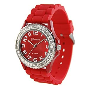 RED Silver Silicone Gel Band Crystal Bezel Women's Watch
