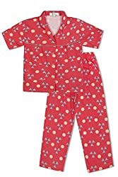 GreenApple Girls Organic Cotton Triangles & Circles Pyjama Set (FVGA046, Red, 5-6 Years)