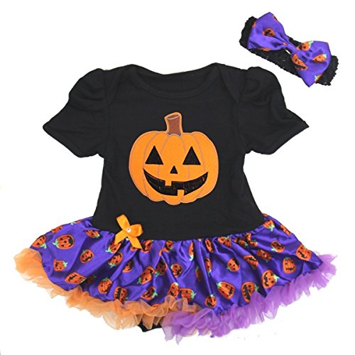 Halloween Baby Orange Pumpkin Purple Pettiskirt Bodysuit and Headband