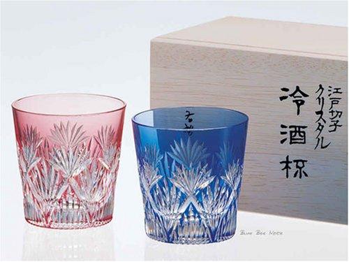 カガミクリスタル ペア江戸切子冷酒杯(笹っ葉に斜十文字紋) 120cc #2406--