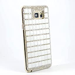 Samsung Galaxy Note 5 Case, Sense-TE Glamour Crystal [3D Handmade] [Sparkle Glitter] Diamond Rhinestone Clear Cover with Retro Bowknot Anti Dust Plug - White
