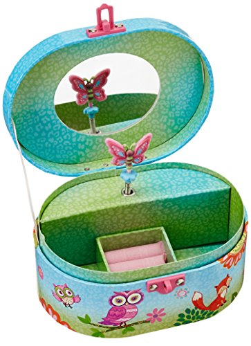 Hot Focus Owl Fox Oval Shaped Musical Jewelry Box