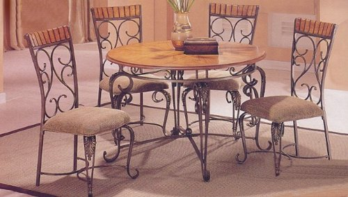 5pc Rustic Oak & Iron Metal Dining Table & 4 chairs Set