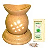 Chic Brown Floral Ceramic Electric Aroma Diffuser With Lemongrass Essential Oil - Design 16-7/A