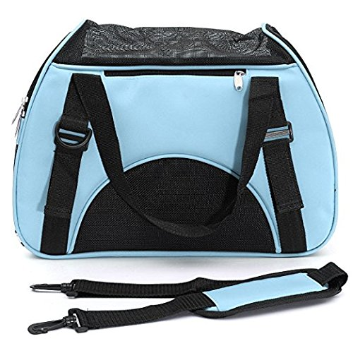 WRS Soft Sided Travel Pet Carrier Duffle Bags, Pet Travel Portable Bag Home for Dogs, Cats and Puppies, 18″ x 11″ x 10″, (Blue)