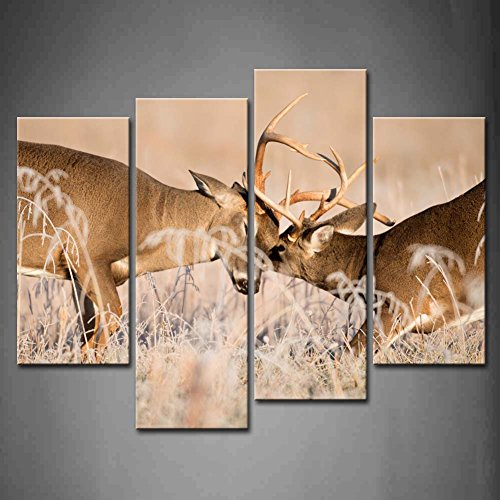 First Wall Art - 4 Panel Wall Art White Tailed Deer Bucks Sparring Painting Pictures Print On Canvas Animal The Picture For Home Modern Decoration piece (Stretched By Wooden Frame,Ready To Hang)