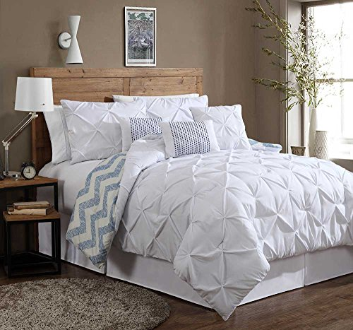 Geneva Home Fashion 7-Piece Ella Pinch Pleat Duvet Set, White, Queen