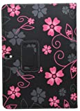 Samrick Flowers Executive Specially Designed Leather Book Wallet Case with Exclusive Viewing Stand, Screen Protector, Microfibre Cloth and Pink High Capacitive Mini Stylus Pen for Samsung Galaxy Note 10.1 (2014 Edition) - Black/Pink