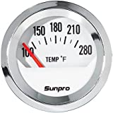 Sunpro CP8201 StyleLine Electrical Water/Oil Temperature Gauge - White Dial