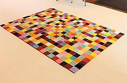Handmade Cowhide Leather Rug - Multi Color Squares (5\'x7\' (150cm x 210cm) L Area Rug)