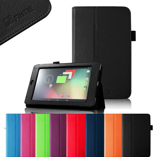 Read About FINTIE (Black) Slim Fit Folio Stand Leather Case Cover for Google Asus Nexus 7 Inch Andro...