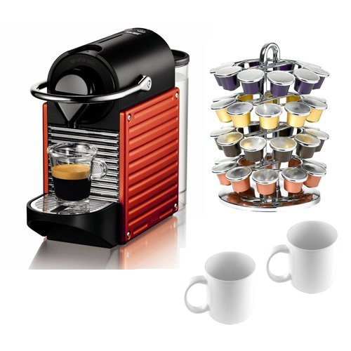 Nespresso C60 Pixie Espresso Maker in Red plus Coffeemaker Bundle