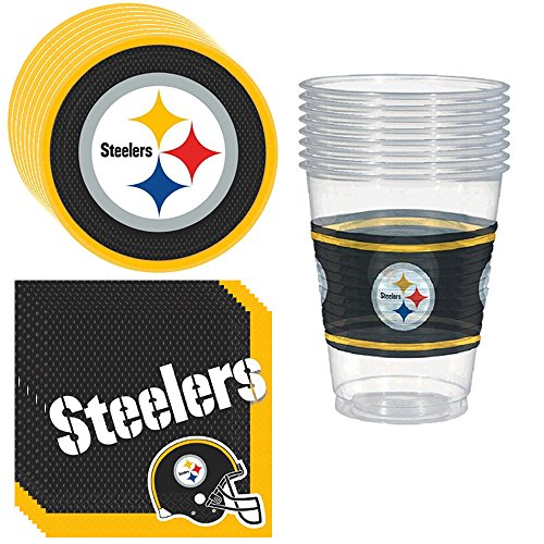 Pittsburgh Steelers Party Pack Including Plates, Cups and Napkins - 8 Guests