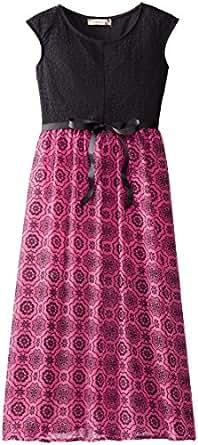 Speechless Big Girls' Lace To Chiffon Maxi Dress, Fuchsia/Black, 7