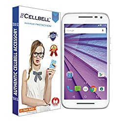 Cellbell Premium Moto G Turbo Edition / Motorola Moto G 3rd Generation (Moto G3) (Clear) Tempered Glass Screen Protector (Comes with Warranty,User guide,Complimentary Prep cloth)-Bronze Edition