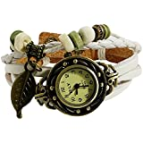 KANO BAK Leaf Charm White Color Women Ladies Weave Leather Belt Bracelet Watch
