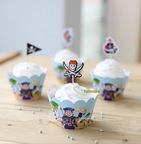 12 Pirata Cupcake Envolturas Y Palillos Magdalenas Horneado Surtido Fiesta de Verano Envoltura Diámetro inferior de 5 cm Altura 5.5cm