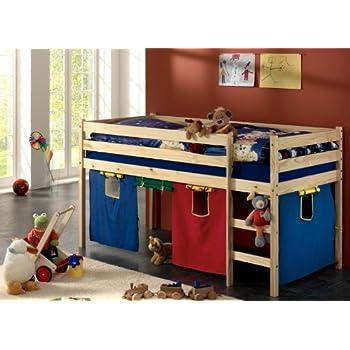 pas cher lit sur lev mi hauteur avec rideaux et sommier acheter en ligne magasin rideaux 2013. Black Bedroom Furniture Sets. Home Design Ideas