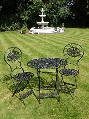 Black Wrought Iron 3 Piece Bistro Style Garden Patio Furniture Set